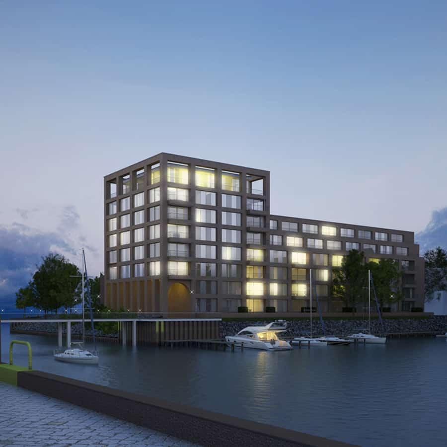RTW Architekten Doktorsklappe Hafenseite bei Nacht